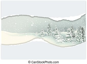 Background with Winter Snowy Landscape