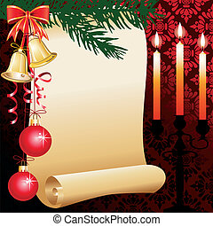 Christmas background with wishlist, candles, decor and space for your text
