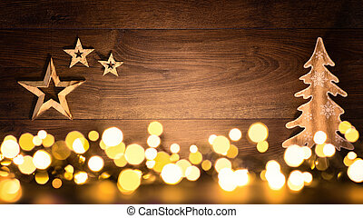 Christmas background with wood and lights