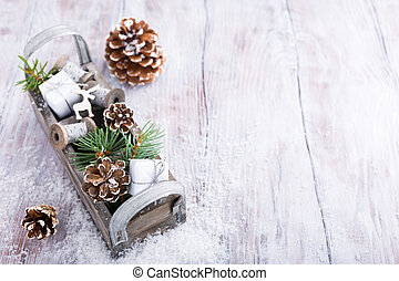 Christmas background with wooden box