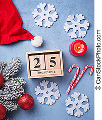 Christmas background with wooden calendar