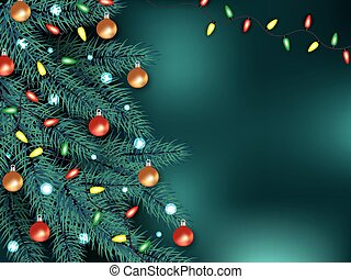 Christmas background with Xmas tree and garland realistic vector illustration.