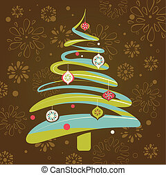 Christmas background with xmas tree on retro pattern, vector