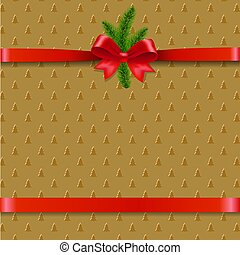 Christmas Background With Xmas Tree Ribbon Bow