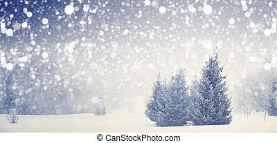 Christmas background. Xmas blizzard in park.