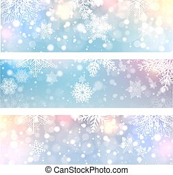 Christmas backgrounds, banners with snowflakes
