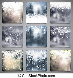 Set of vector winter christmas backgrounds