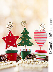 Christmas backgrounds. Christmas decor on the wooden...