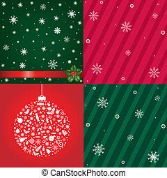 Christmas Backgrounds With Snowflakes Set