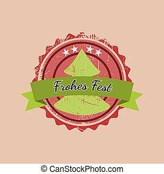 Christmas badge with the German words Merry Christmas