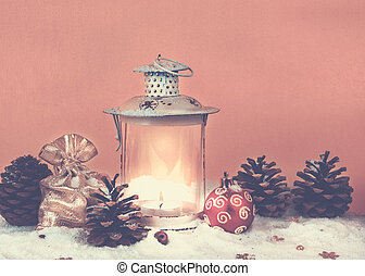 Christmas bag with gifts, Christmas decorations and old lantern