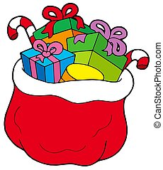 Christmas bag with gifts - isolated illustration.