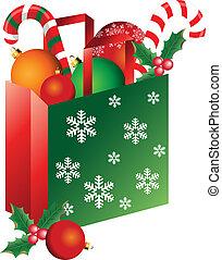 Christmas bag with ornaments