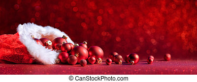 Christmas Bag With Red Balls - Decoration With Bokeh Effect
