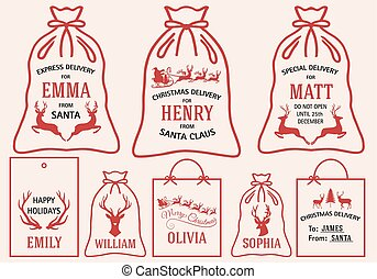 Christmas bags and tags, vector set
