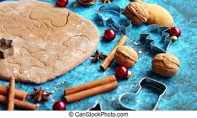 Christmas baking concept. Gingerbread dough with different...