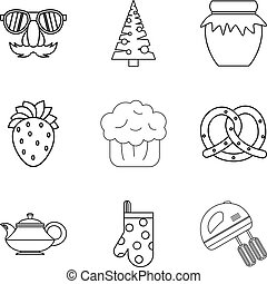 Christmas baking icons set, outline style