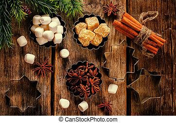 Christmas baking ingredients