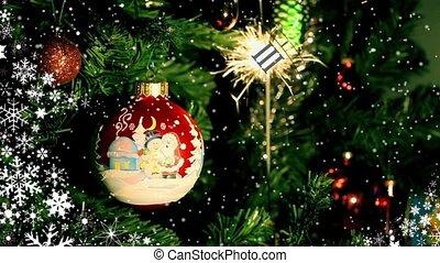 Christmas ball and Burning  sparkl