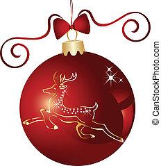 Christmas ball and gold reindeer