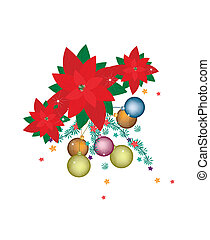 Christmas Ball and Poinsettia Flowers with Christmas Ornament