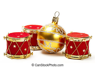 christmas ball and red drum ornaments on white background