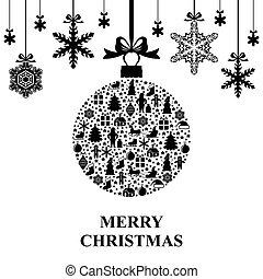 Christmas ball and snowflakes hang