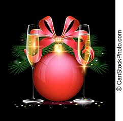 Christmas ball and two glasses