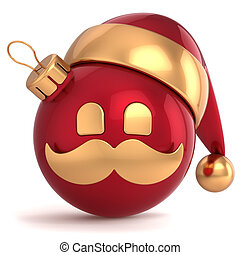Christmas ball avatar Santa Claus hat ornament New Year bauble red gold decoration happy emoticon icon. Seasonal wintertime Merry Xmas mustache toy souvenir. 3d render isolated on white background
