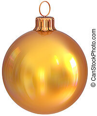 Christmas ball bauble yellow golden New Year's Eve decoration