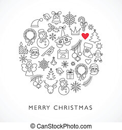 Christmas ball - black and white line icons, arranged in ...