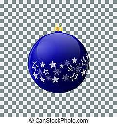 Christmas ball - Blue - Decorated design.