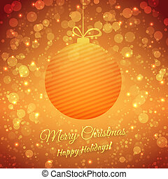 Christmas Ball. Blurred Festive Vector Background. Merry Christmas And Happy Holidays. Greeting Card