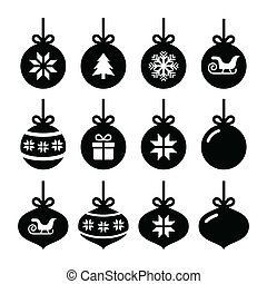 Christmas ball, christmas icons - Winter holiday icons set ...