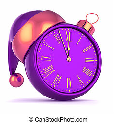 Christmas ball clock face purple New Year's Eve time, last...