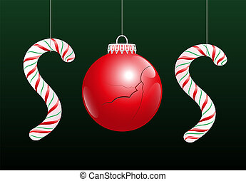 A damaged christmas ball and two candy canes make the word SOS, as a symbol for problems concerning xmas. Vector illustration on green gradient background.