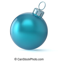 Christmas ball cyan blue New Year's Eve bauble blank classic...