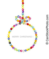 Christmas ball decorate by colorful beads on white...