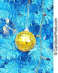 christmas ball decoration on the chrismas tree