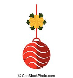 Christmas ball decoration with holly leaves icon