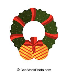 Christmas ball decoration with holly wreath icon
