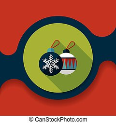 Christmas ball flat icon with long shadow, eps10