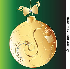 Christmas ball gold bow and swirly