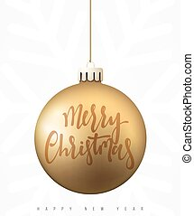 Christmas ball gold isolated on white background.