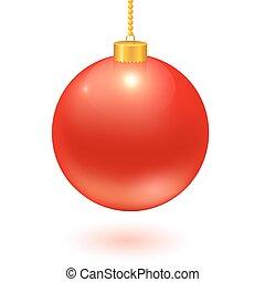 Christmas ball hanging on a chain