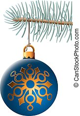 Christmas ball hanging on blue spruce branch isolated on white b