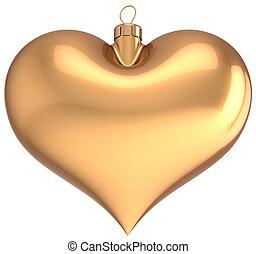Christmas ball heart shaped golden - Christmas ball gold...