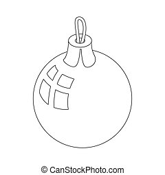 Christmas ball icon, outline style