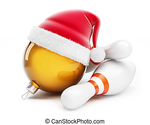 Christmas ball in santa hat Bowling santa hat on a white...