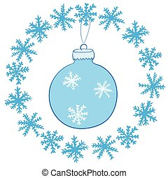 Christmas ball in snowflakes